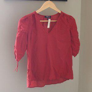 Madewell Silk Cinch-Sleeve Top V Neck Puff Sleeve